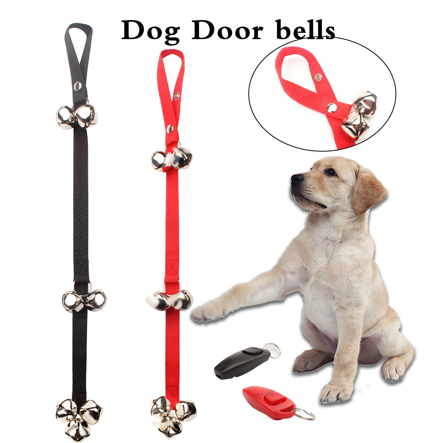 GUQI Pack of 2 Dog Doorbells with 7 Extra Loud Bells, Adjustable Dog Bells for potty training/Housetraining, Training Bell for Housebreaking-Included 2 Upgrade Training clicker with whistle