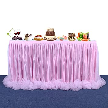 Amazoncom Fulu Bro 9ft Pink Tutu Table Skirt Long Tulle Table
