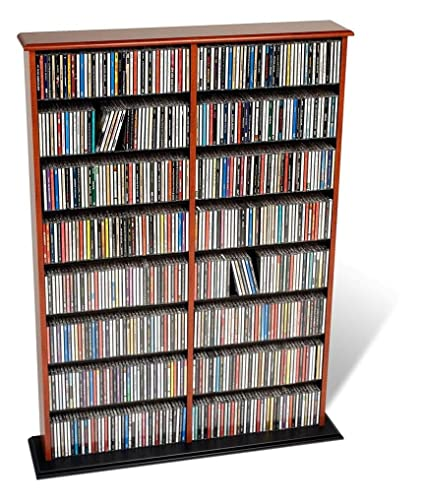 Prepac Cherry Double Width Wall Media (DVD,CD,Games) Storage Rack
