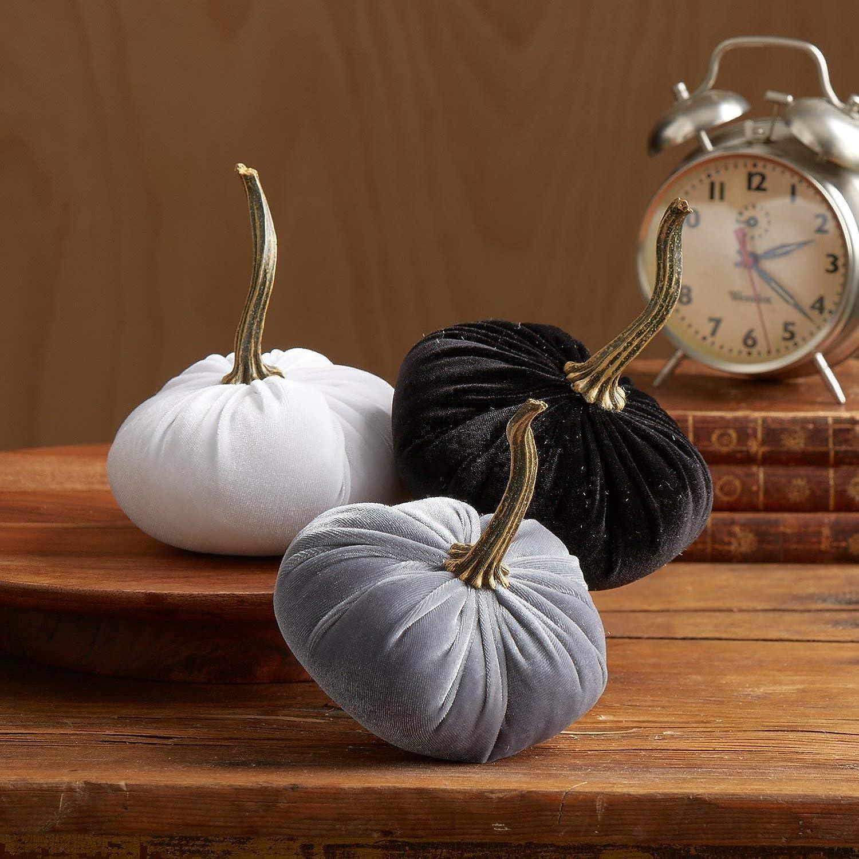 Velvet Pumpkins, SET of 3: Gray, White, Black; Home Decor, Holiday Mantle Decor, Centerpiece, Fall, Halloween, Thanksgiving