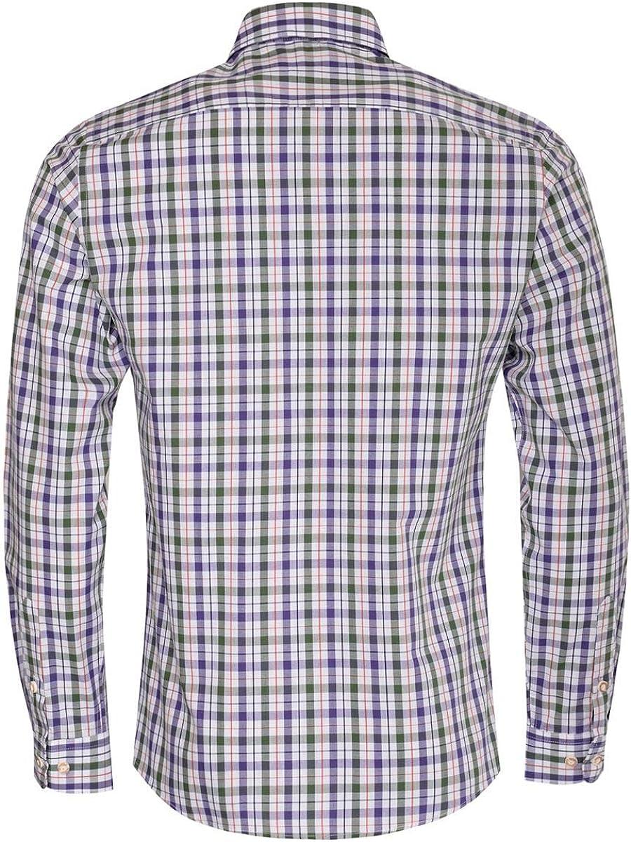 Almsach Slim-Fit Slim-Line - Camisa para hombre, diseño de cuadros tradicionales Lila / abeto S: Amazon.es: Ropa y accesorios