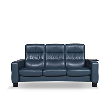 Stressless Designer Leather Sofa Blue Petrol Three-Seater ...