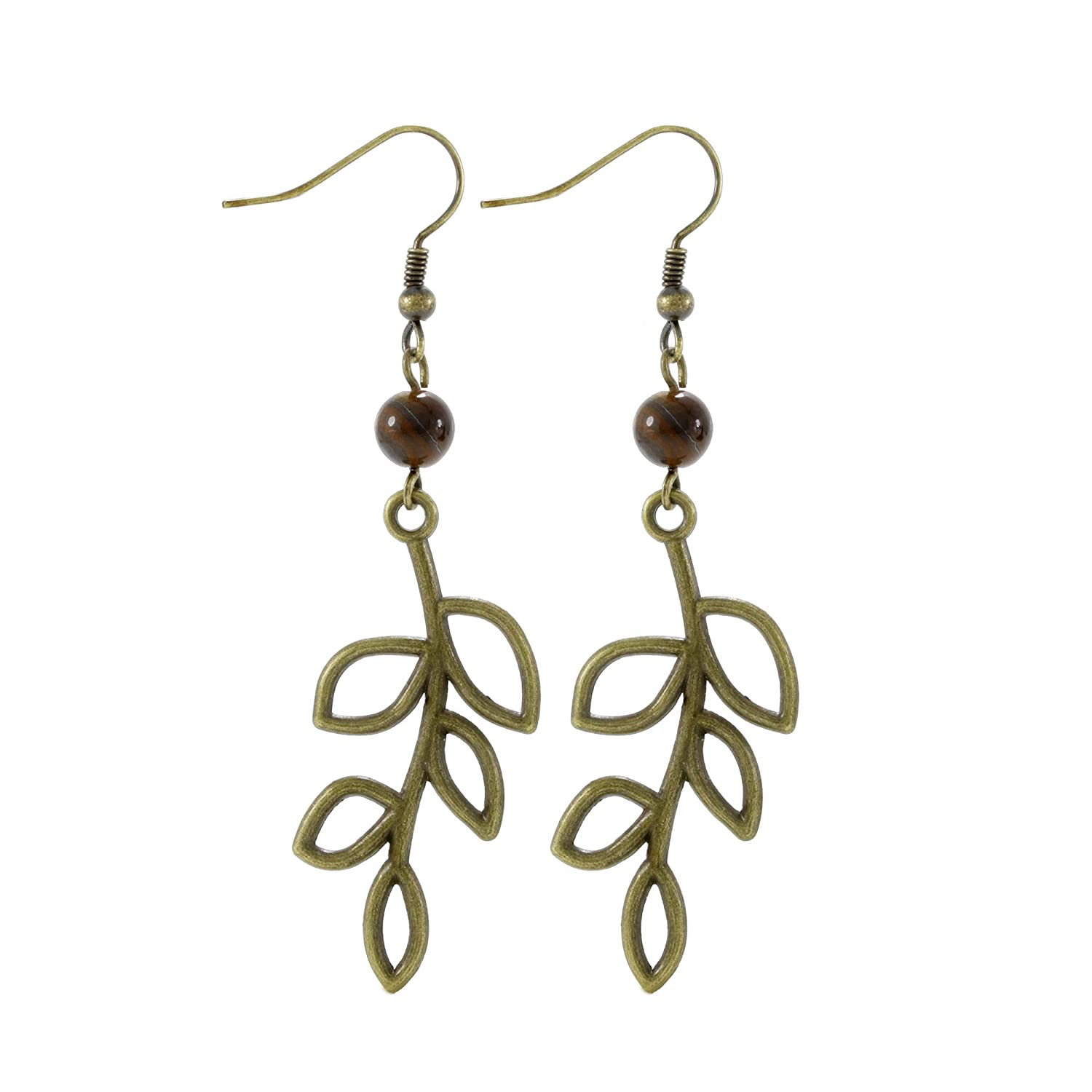 Tiger Eye Bead Bronze/Brass Tone Olive Tree Branch Leaf Earrings, Handmade Dangle Earring Set