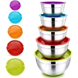 Mixing Bowls with Lids, P&P CHEF Stainless Steel Mixing Salad Bowls, Size 8/5/3/2.5/1.5 QT, Great for Mixing Storing Prepping