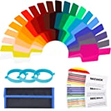 Neewer 20 Pieces Camera Flash Gels Lighting Filter Transparent Color Correction Filter Kit with 3 Pieces Attachment Band and