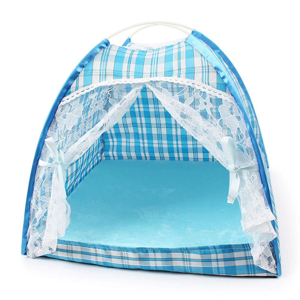 HONGNA Tenda per Animali in Pizzo Stampato Facile da Rimuovere E Lavare La Tenda per Cani 36  11  32 Cm,blu