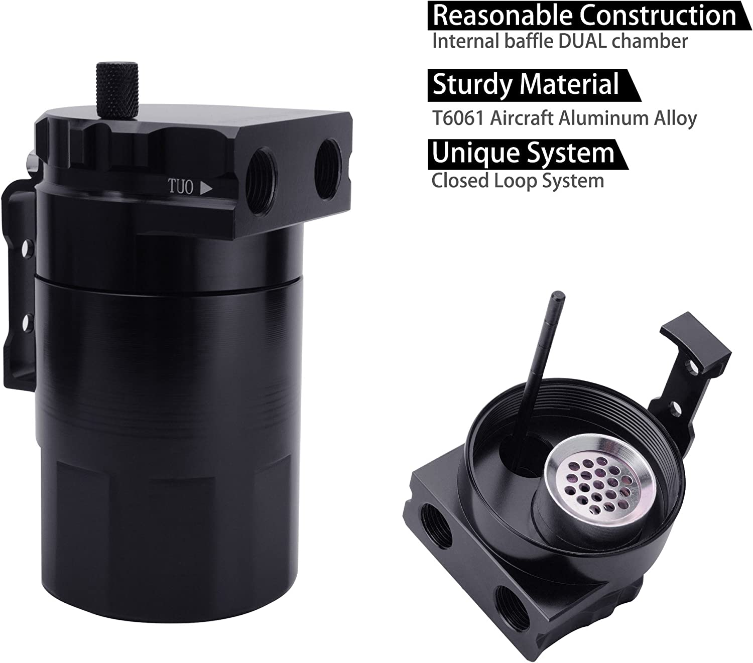 Aluminum Baffled Oil Catch Can Tank Reservoir Breather With Fittings Handy