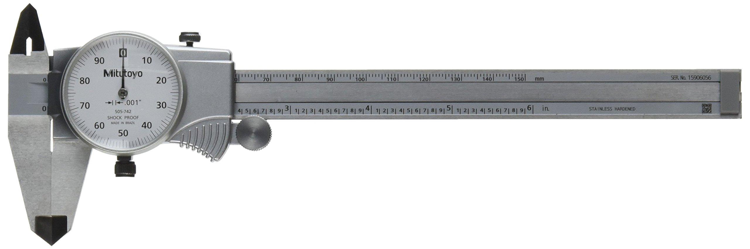 Mitutoyo 505-742 Dial Caliper, 0.1'' per Rev, 0-6'' Range, 0.001'' Accuracy