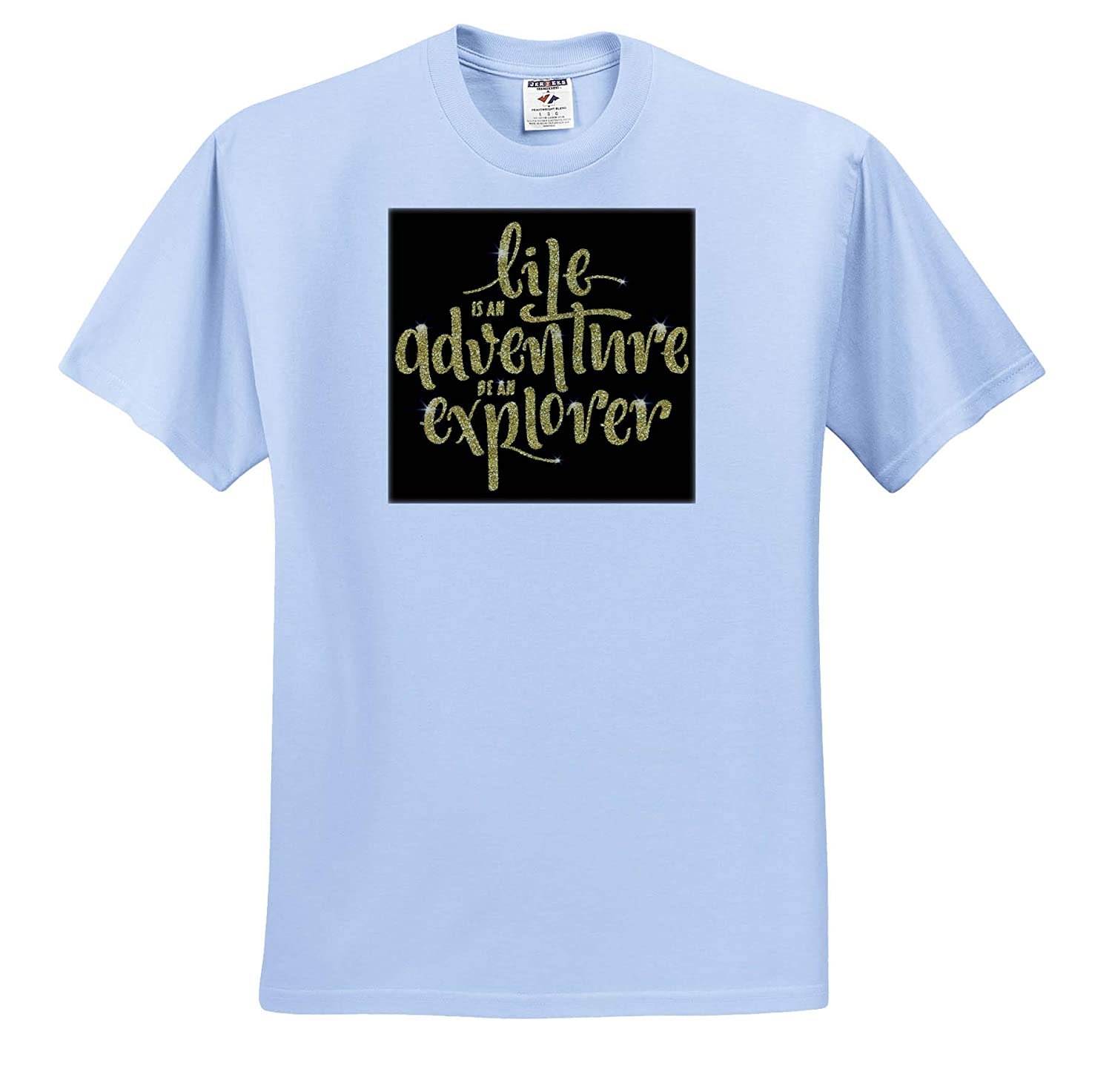 T-Shirts Life is an Adventure Be an Explorer in an Image of Gold Glitter Quotes 3dRose Anne Marie Baugh
