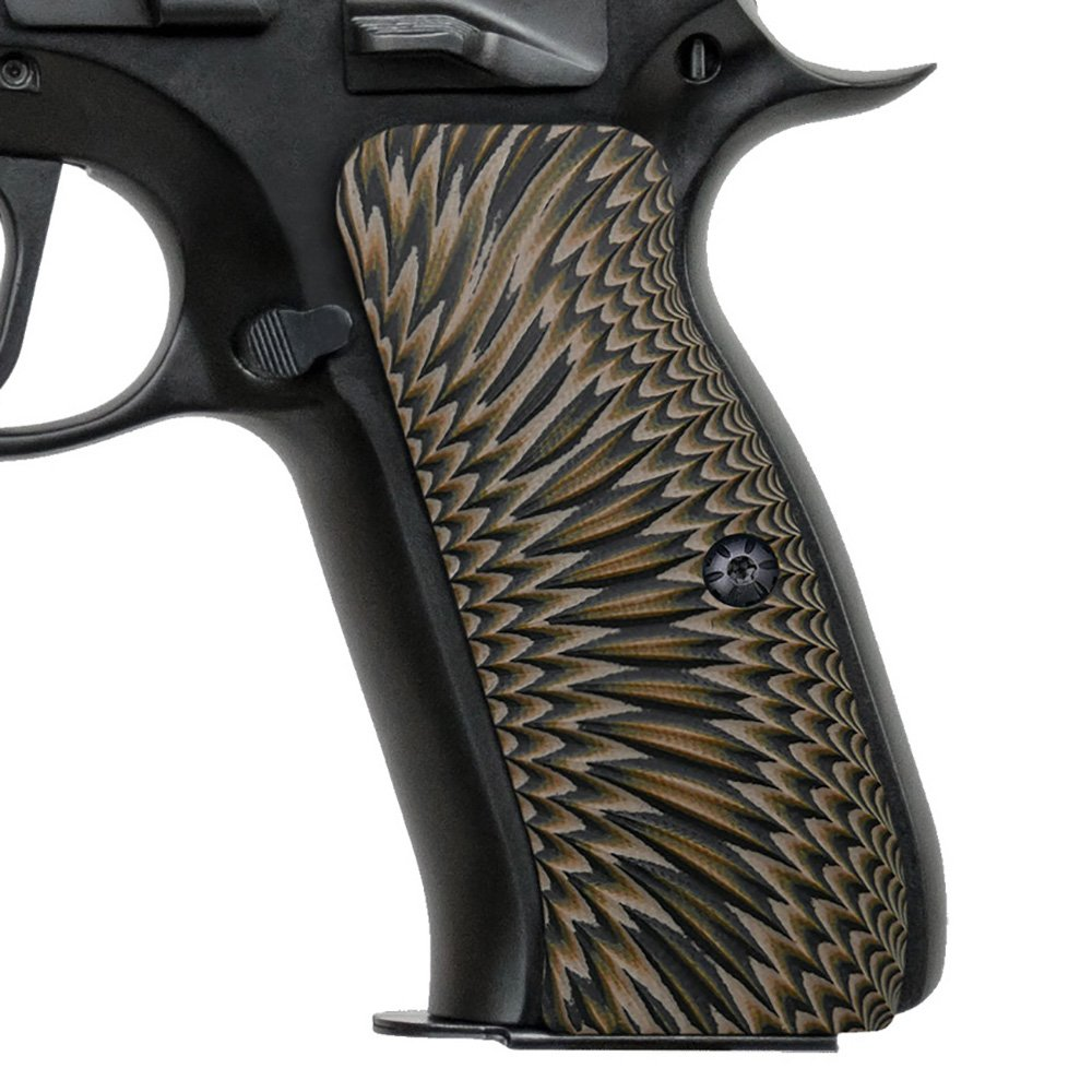Cool Hand G10 Grips for CZ 75 Full Size, Sunburst Texture, Brand, Coyote Color by Cool Hand