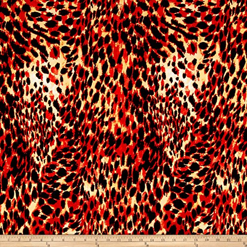 ITY Jersey Knit Cheetah Print Red/Black Fabric By The Yard (Cheetah Red)