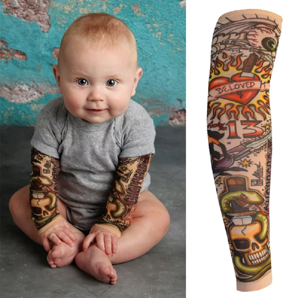 2b7389852 Amazon.com: 6pcs Temporary Tattoo Sleeves for Kids Boy Girl, Fake Slip On  Arm Sunscreen Sleeves Cover Up Body Art Arm Stockings Slip on Accessories  for ...