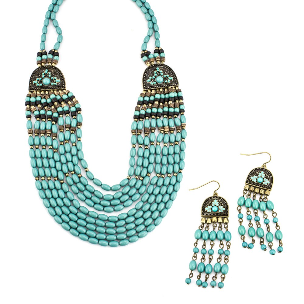 LookLove Women's Jewelry Turquoise Bead Statement Necklace and Earring Set