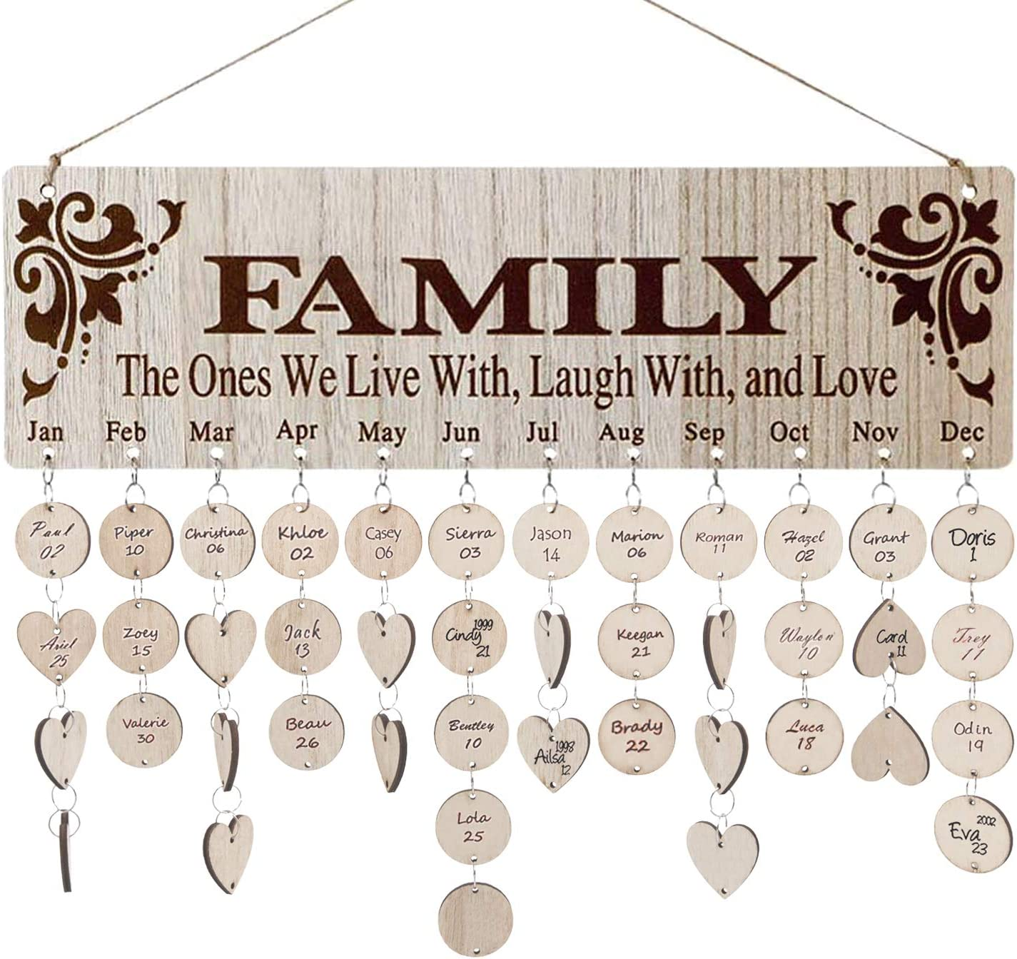 Family Birthday Calendar Board DIY Wooden Birthday Reminder Wall Hanging Calendar Plaque for Mom Dad with 100 Piece Wooden Discs