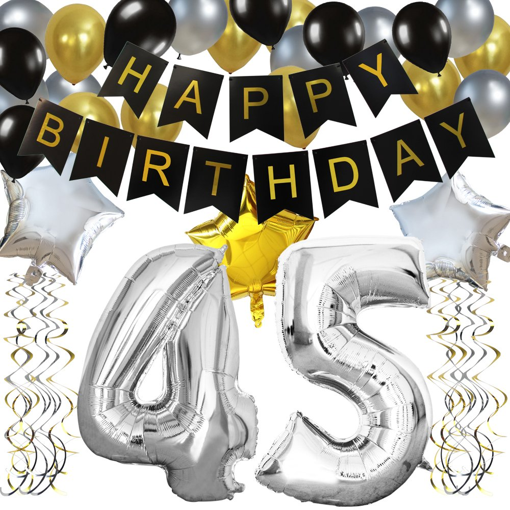 KUNGYO Classy 45TH Birthday Party Decorations Kit-Black Happy Brithday Banner,Silver 45 Mylar Foil Balloon, Star, Latex Balloon,Hanging Swirls, Perfect 45 Years Old Party Supplies