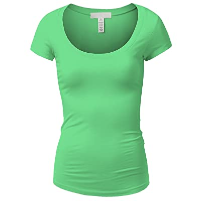 Active Basic Womens Basic Deep Scoop Neck with Cap Short Sleeves - Mint, L at Amazon Women's Clothing store