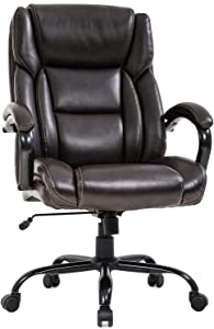 Big and Tall Office Chair 500lbs Wide Seat Ergonomic Desk Chair Task High Back Executive Chair Rolling Swivel PU Computer Chair with Lumbar Support Armrest Adjustable Chair for Heavy People, Brown