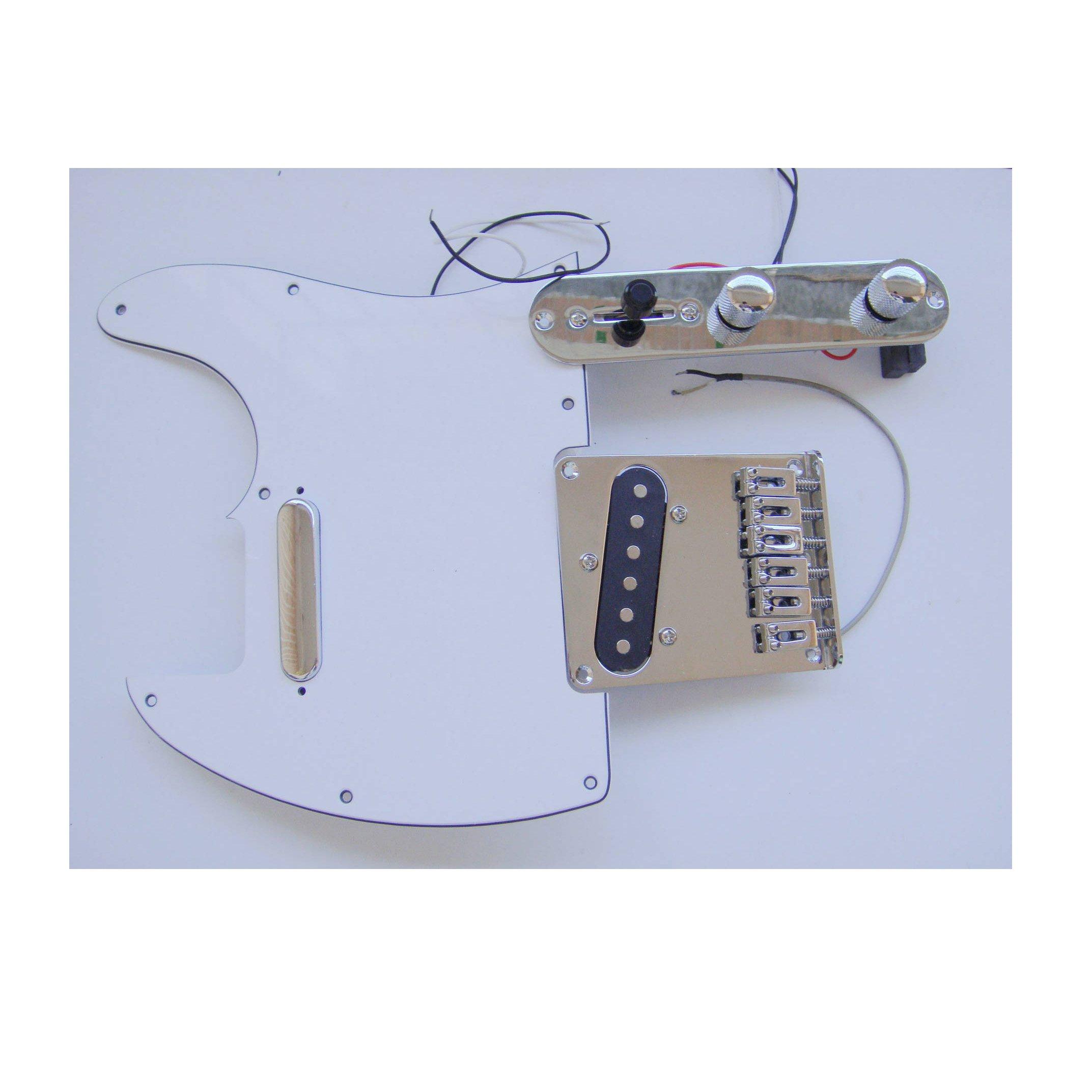 Fastmusic Prewired White 3Ply Tele Guitar Pickguard Control Bridge Kit