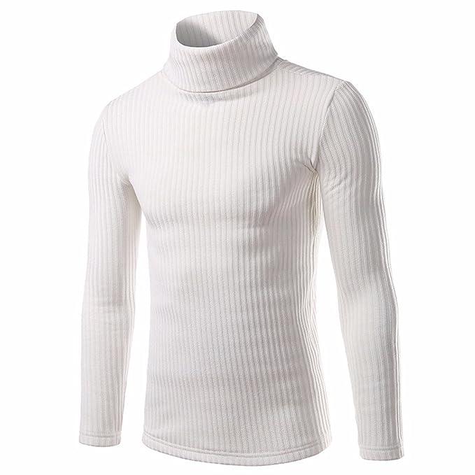 Z Maglioni Uomini di Colore Solido Collo Alto Pullover A Maglia  Amazon.it   Abbigliamento ce8c43c574d