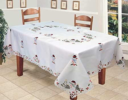 Christmas Tablecloths.Creative Linens Holiday Embroidered Snowman And Christmas