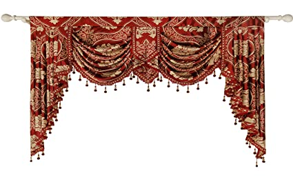 Queen\'s House Curtain Valance Burgundy Jacquard Swag Waterfall Valance  Luxury Curtain Valance Living Room 59\