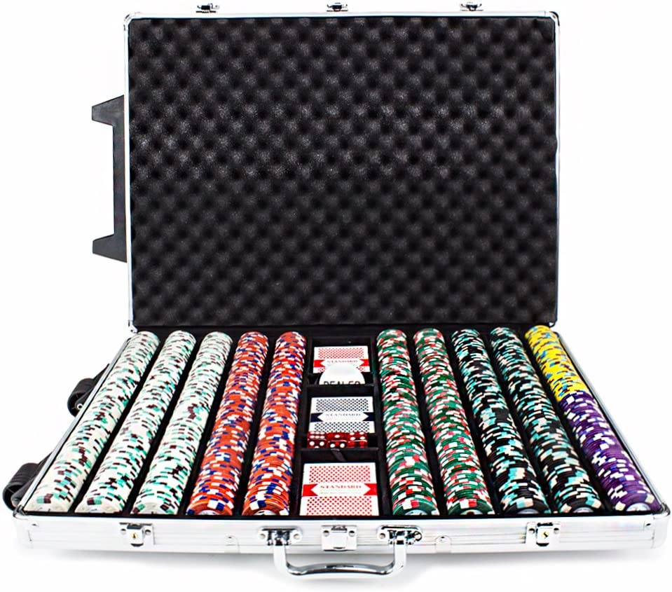 13,5/GM Claysmith Gaming 1000-count The Mint Poker Chip Set in Rolling Aluminium Fall