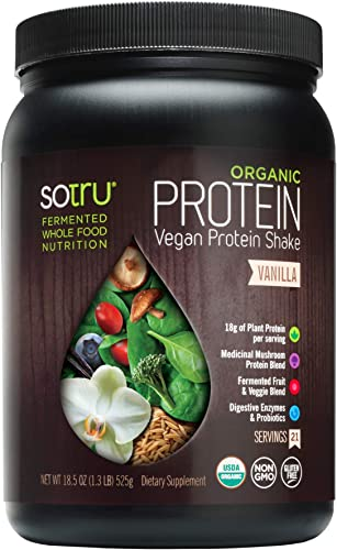 SoTru Vegan Protein Shake, Vanilla – 18.5 oz. – Whole Food, Plant-Based Protein Powder with Green Superfoods, Enzymes Probiotics – USDA Certified Organic, Non-GMO, Gluten-Free – 21 Servings