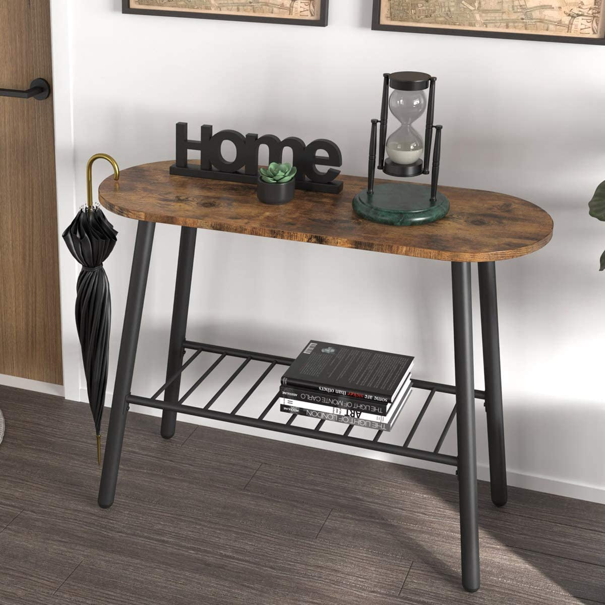 IRONCK Industrial Console Table for Entryway Hallway Table with Storage Shelf, 2 Tier Sofa Table for Living Room Bedroom Entryway Study Balcony Hallway Workshop, Easy Assembly