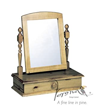 Bon Verona Design Table Top Dressing Mirror Drawer In Solid Pine Antique Finish