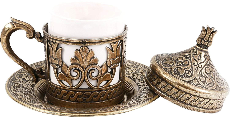 6x Traditional Design Brass Cast Turkish Armenian Arabic Greek Coffee cups