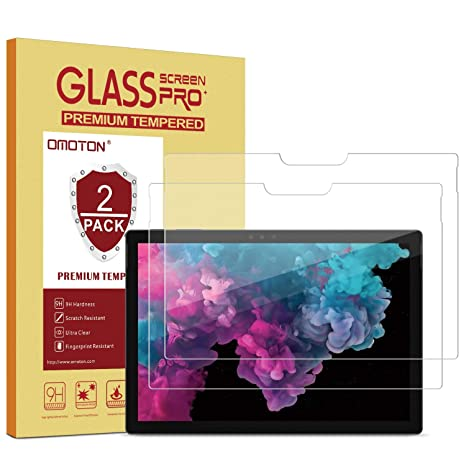 OMOTON [2-Pack] Screen Protector for Surface Pro 6 / Surface Pro (5th Gen)  / Surface Pro 4 - [Tempered Glass] [High Responsivity] [Scratch Resistant]