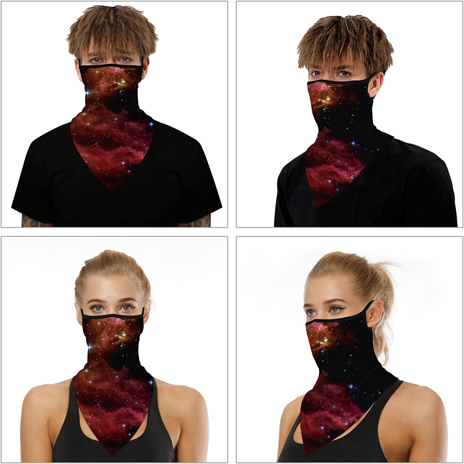 YIZEKE 4pcs Seamless Triangle Face Cover Scarf Masks Bandana with Ear Loops Balaclava Neck Gaiter for Outdoor Sport