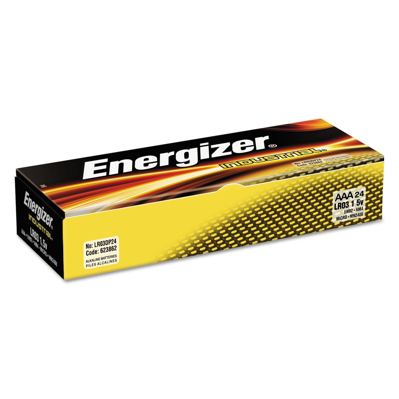 Energizer EN92 Industrial Alkaline Batteries, AAA, 24 Batteries/Box