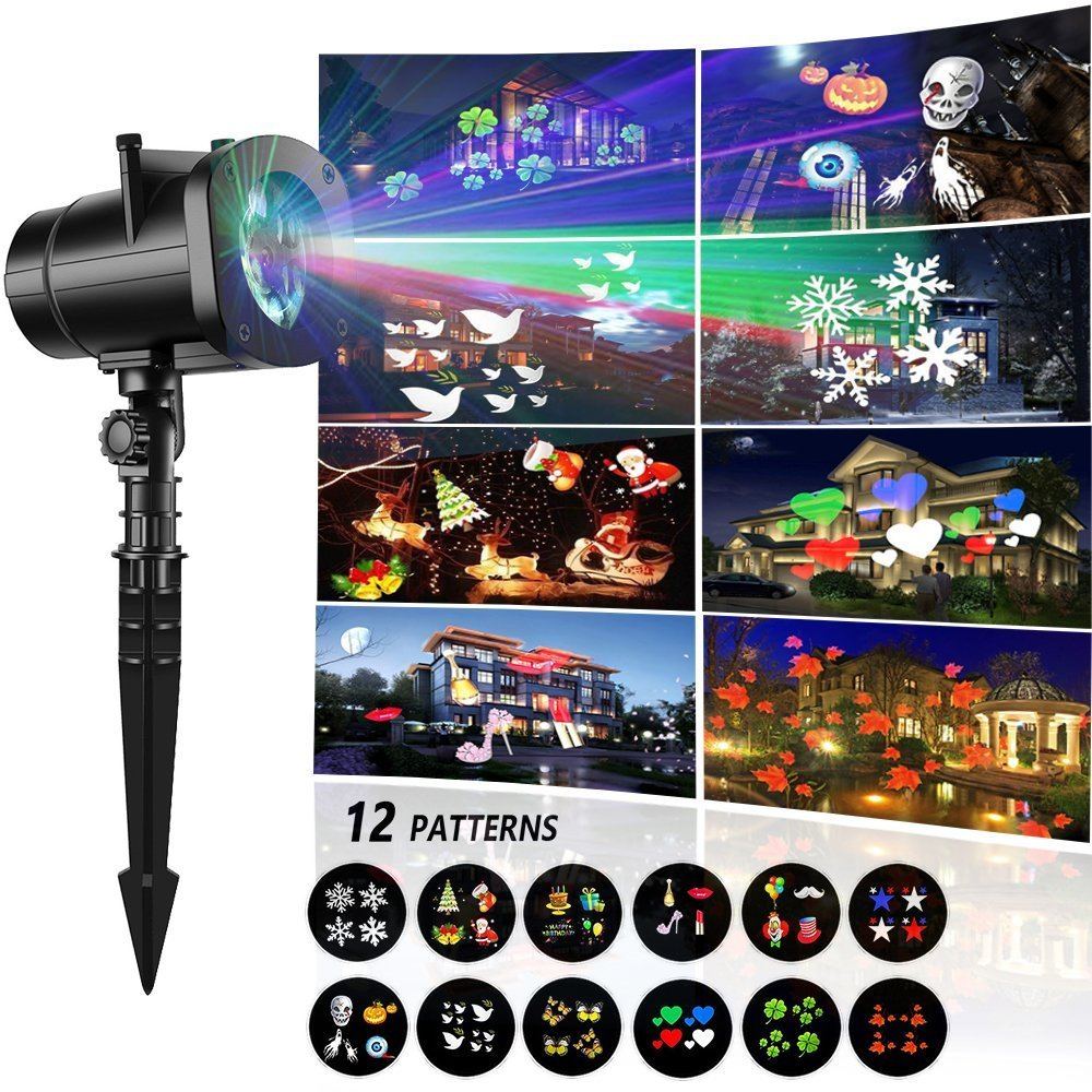 Christmas Landscape Lights, Halloween Light Projector,12 Mode Rotating Projector Spotlight, Waterproof LED Landscape Light for Christmas Decoration, Birthday Party, Holiday, Outdoor Garden, Yard, Wal AG-So-So