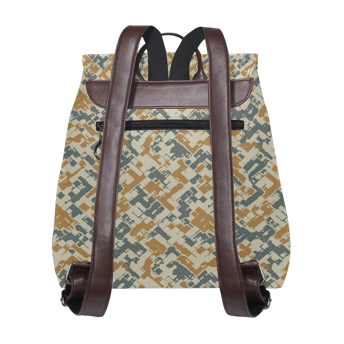 Unisex PU Leather Backpack Teal Camo for Women Brown Print Womens Casual Daypack Mens Travel Sports Bag Boys College Bookbag