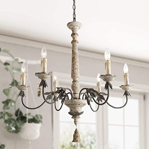 LALUZ 6 Lights French Country Chandelier with Metal Flower Arms in  Distressed Wood and Rusty Steel Finish, 31.1\