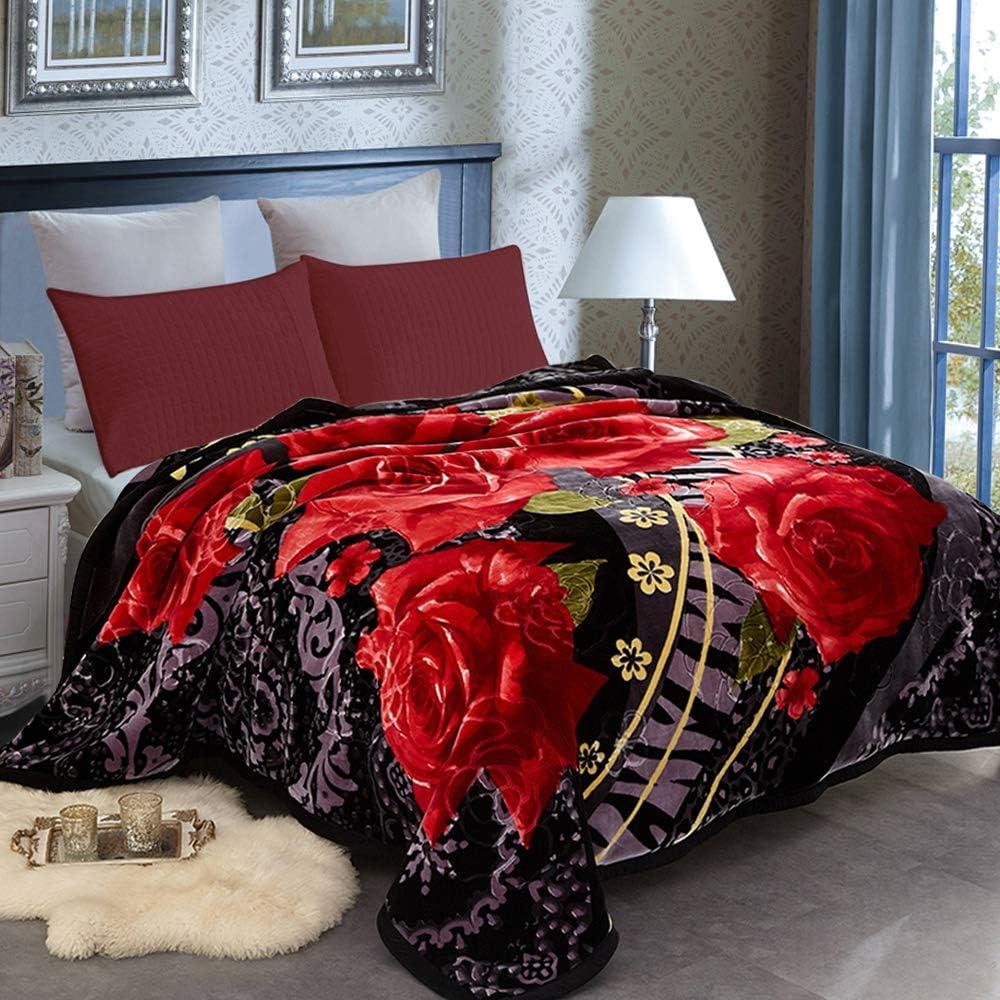 Jml Heavy Fleece Blanket Queen 79 X93 8lbs 2 Ply Design Ultra Soft Warm Thick Korean Mink Printed Plush Mink Raschel Bed Blanket For Autumn Winter Bed Home Gifts Kitchen Dining