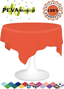 Orange Plastic Tablecloth 6 Pack Disposable Table Covers 84 Inch Circle Shower Party Tablecovers PEVA Vinyl Table Cloth for Round Tables up to 6 ft and Picnic BBQ Birthday Wedding Catering Banquet