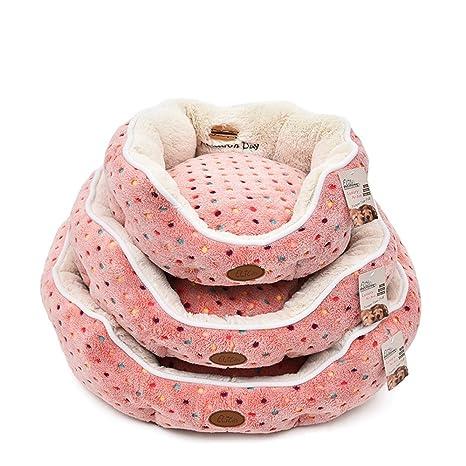 Cama redonda para mascotas, perros y gatos, de lunares elite macaron. Para invierno