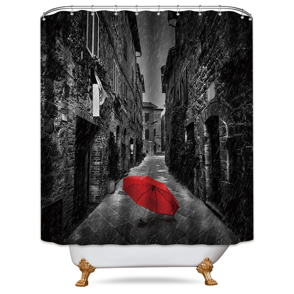 Amazon Riyidecor Rainy Shower Curtain Red Umbrella Free Metal Hooks 12 Pack Black And White Tuscany Italy Winter Decor Fabric Bathroom Set