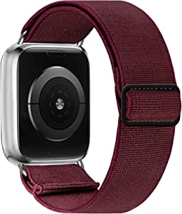 SAMYERLEN Elastic Apple Watch Bands 38mm 40mm 42mm 44mm, Nylon Braided Solo Loop Wristbands for Women Men, Cute Stretchy Sport Strap Compatible with Iwatch Series SE 6 5 4 3 2 1 (WineRed-38/40)