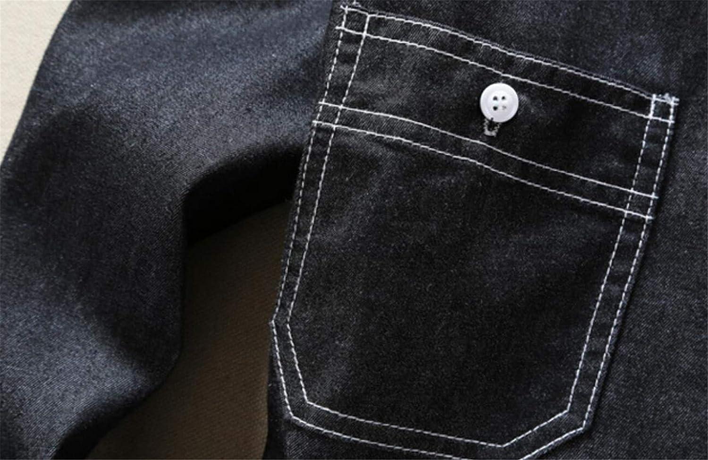 YYear Mens Stretchy Pockets Basic Long Sleeve Denim Slim Fit Shirts