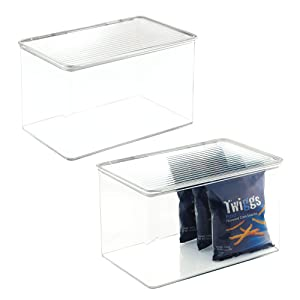 mDesign Plastic Stackable Food Storage Container Bin with Hinged Lid - for Kitchen, Pantry, Cabinet, Fridge/Freezer - Deep Organizer Box for Snacks, Produce, Pasta - BPA Free, 2 Pack - Clear