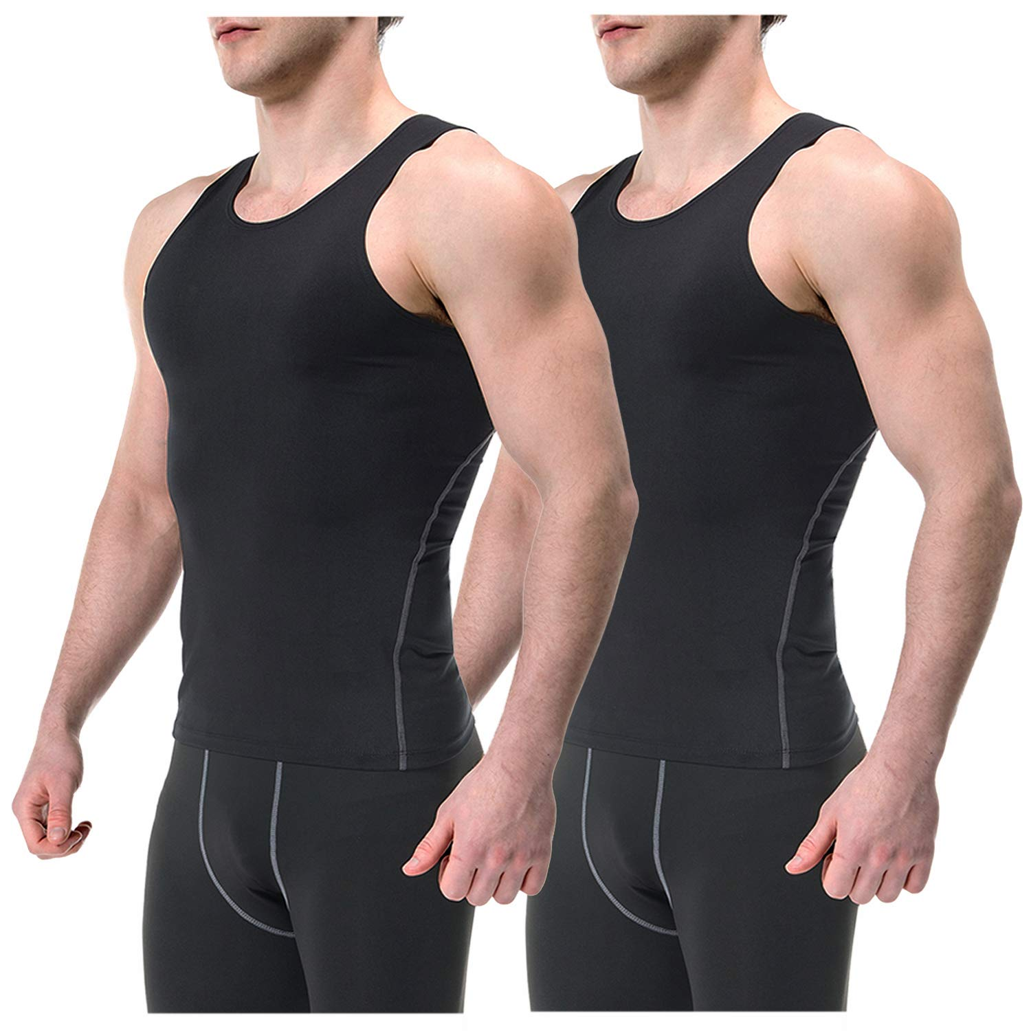 Speverdr Men's Sleeveless Compression Tank Tops Quick-Dry Muscle Base Layer T-Shirt 2 Pack