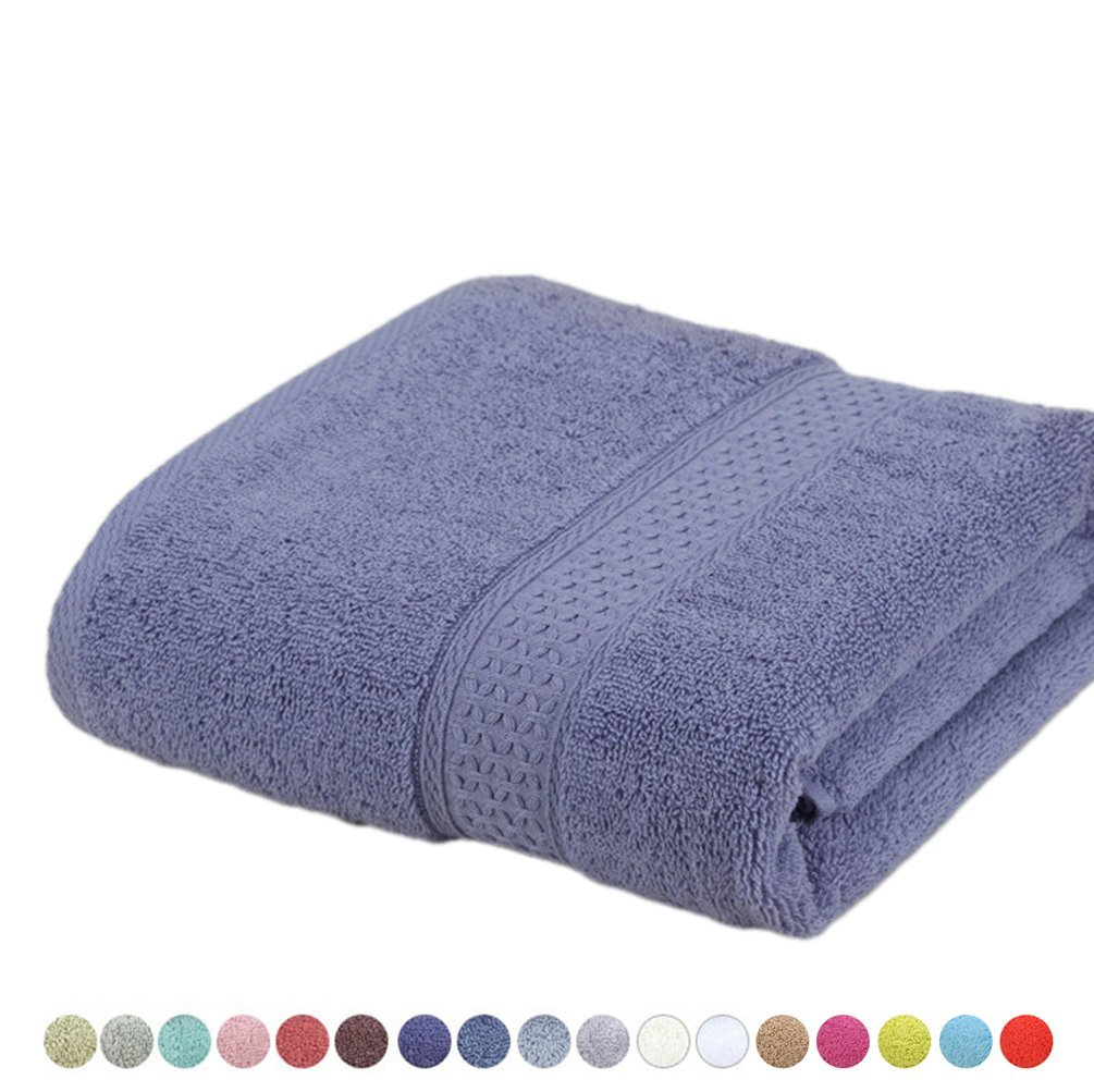 Lotus Karen Cotton Bath Towel Pool Towel Extra-Absorbent and softness 27''x54''(Light Purple)