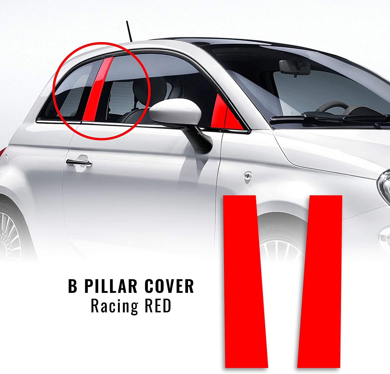 4r Quattroerre It 17044 Selbstklebende Abdeckung Für Auto B Säulen Fiat 500 Abarth Rotes Leder 2 Stück Rechts Und Links Cuir Red Auto