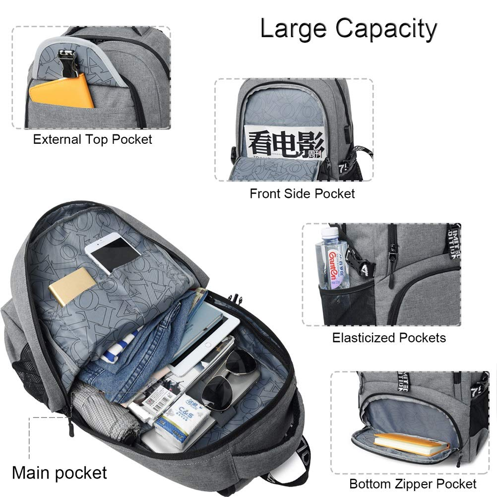 Amazon.com: College Backpack,Business Travel Backpack, 15.6 in Laptop Backpack with USB Charging Port, Anti Theft Waterproof School Backpack Computer ...