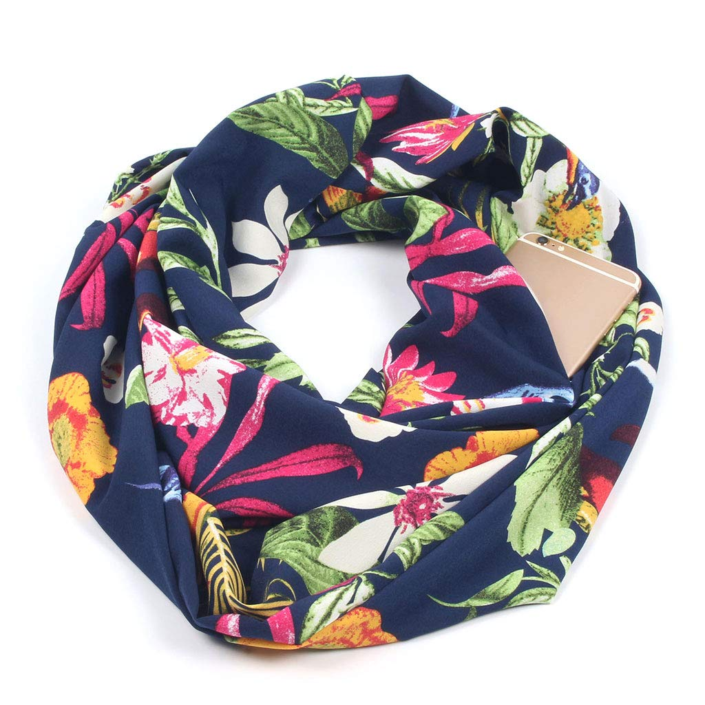 Feamos Infinity Scarf For Women Neck Wrap Double Layer With Secret Hidden Zipper Pocket Floral Printed Christmas Gift