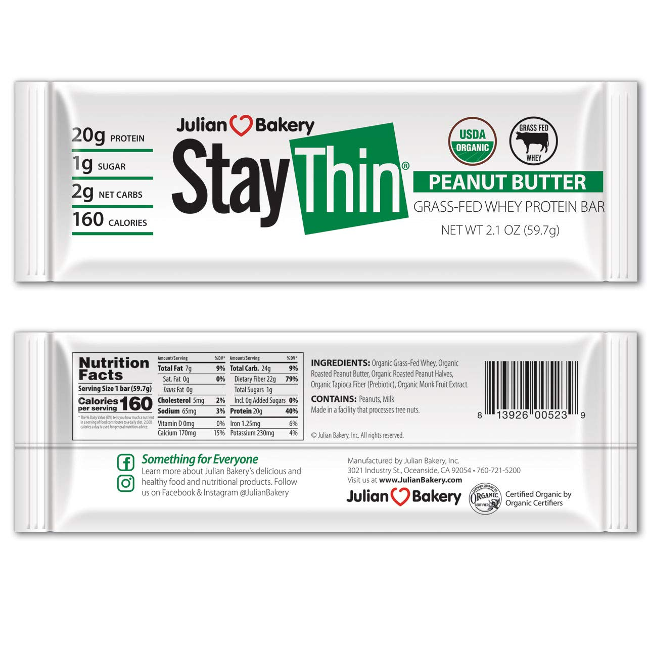 Stay Thin® Protein Bar (Certified Organic) (160 Cal) (20g Grass-Fed Whey Protein) (2 Net Carbs)(4 Ingredients)(1g Sugar)(12 Gluten-Free Bars) by Julian Bakery