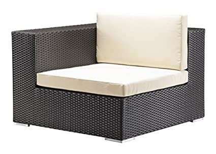 Modern Contemporary Outdoor Patio Corner Chair, Gray, Rattan